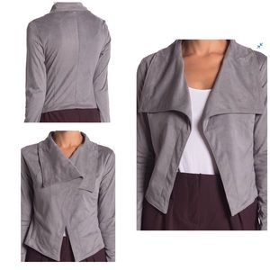Faux Suede Draped Gray Jacket